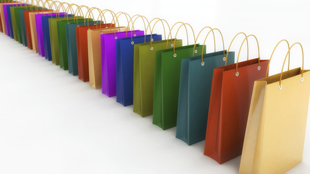 3d rendering. Colored shopping bags Stock Photo