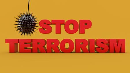 3d rendering. Stop terrorism text
