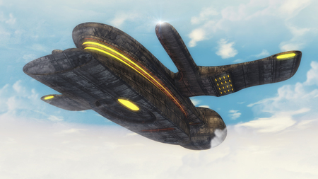 invade: 3d rendering. Futuristic unidentified flying object Stock Photo