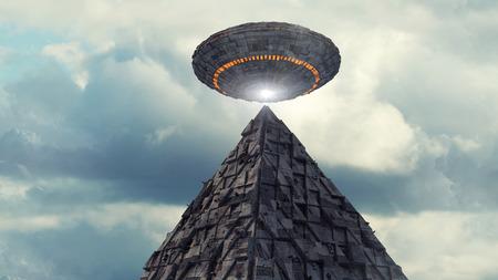 3d 렌더링입니다. 미래의 미확인 비행 물체와 피라미드