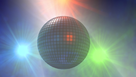 3d rendering. Disco ball and lights Stock Photo