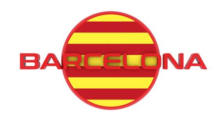 Catalonia flag, Spain, and Barcelona and Catalonian flag illustration Stock Photo