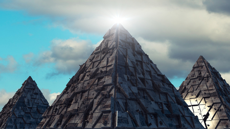invade: 3d rendering. Pyramids and futuristic structures