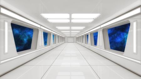 3D レンダリング。未来的な宇宙船内部回廊 写真素材