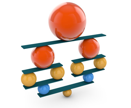 3d rendering. Colorful balls in perfect balance