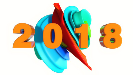 3d rendering. Happy new Year 2018
