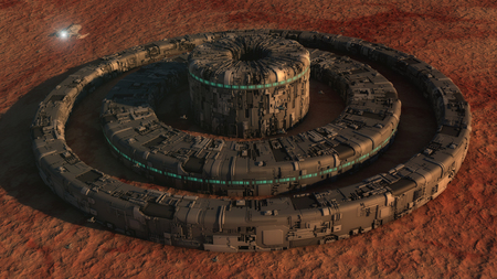 3D rendering. Futuristic city and spaceships