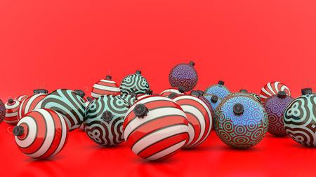 3d render Christmas decoration balls of different colors