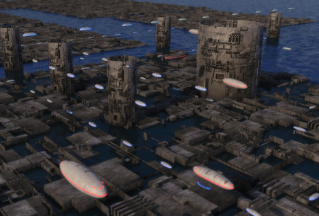 3D rendering. Futuristic city and alien planet