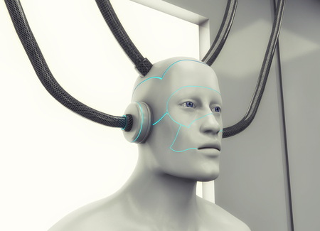 3d rendering. Humanoid head and futuristic room