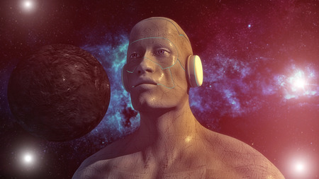 3d rendering. Humanoid head and space