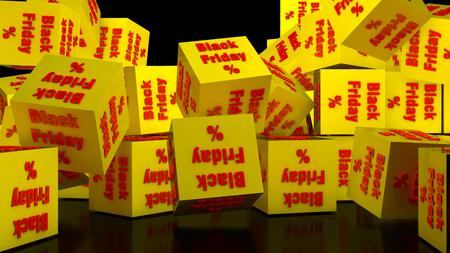 3D Render Black friday cubes