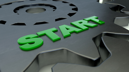 3d rendering. Gear and Start word Stock Photo