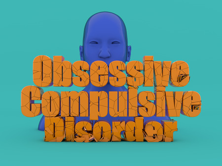 3d render Head and obsessive compulsive disorder text