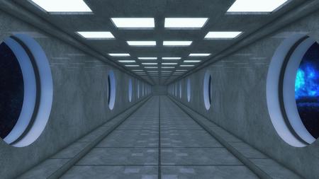 3D rendering. Futuristic spaceship interior corridor Stock Photo