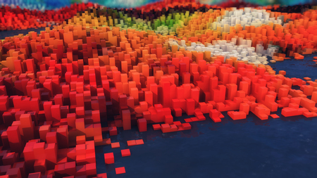 3d rendering. Abstract topography and colors