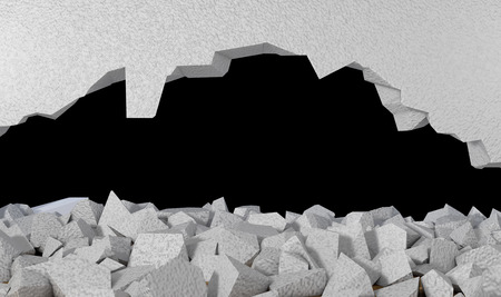 3d render Wall and broken wall with black background Stock Photo
