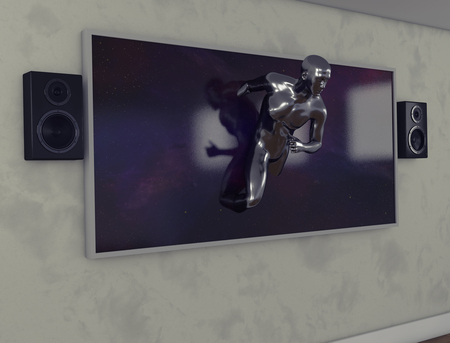 3d render.Television with speakers and human figure going out