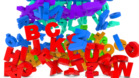 3d render Colorful letters falling to the ground