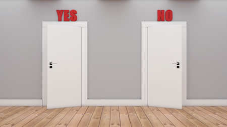 3d render Doors with decision Yes and No