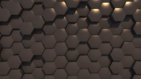 3d rendering. Abstract hexagon geometry background