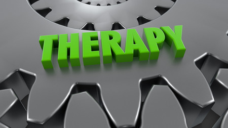 3d rendering. Gear and therapy word