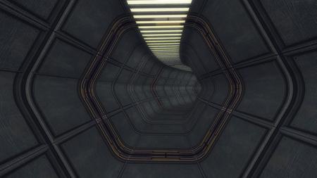 3D render Futuristic interior corridor spaceship Stock Photo