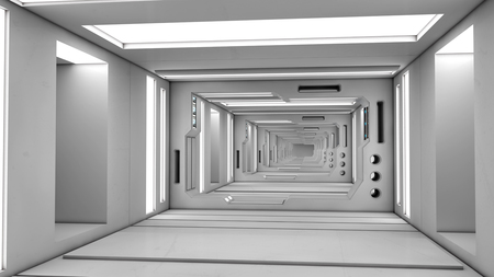 3D render Futuristic corridor interior architecture Stock Photo