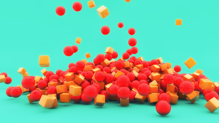 3D render Red balls and falling cubes