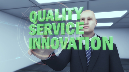 3D render Businessman and quality, service and innovation text