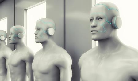 3D render Humanoid figure and futuristic interior
