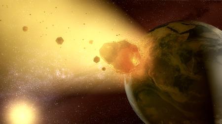 3d rendering. Meteorite crashing against planet earth