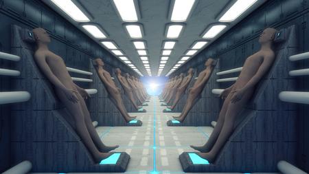 3D rendering. Humanoid figure and futuristic room