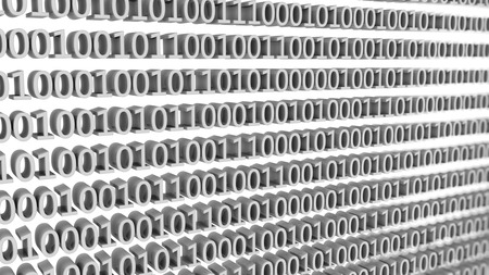 3d render Numbers zero and one in binary code
