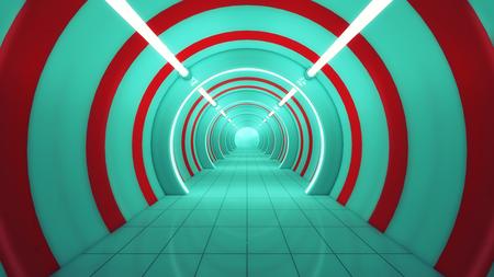 3D render Futuristic interior spaceship design