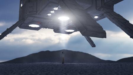 3D render. Alien spaceship UFO concept Stock Photo
