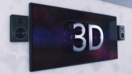 3d render.Television with speakers and 3D text going out