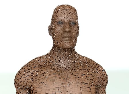 3d rendering. Explode head portrait