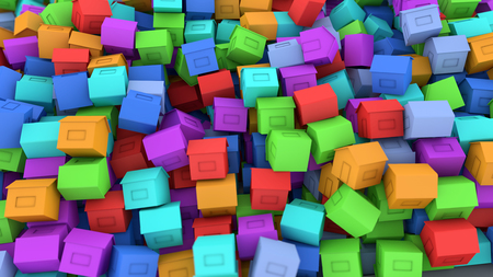 3d render Multiples houses of different colors Stock Photo