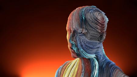 3d rendering. Extrude colorful head portrait