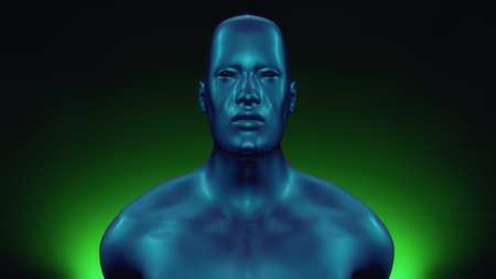 3d rendering. Humanoid head and green background