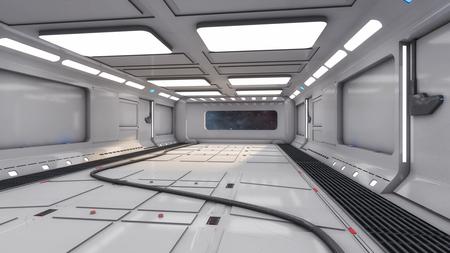 3D render Futuristic interior spaceship corridor Stock Photo
