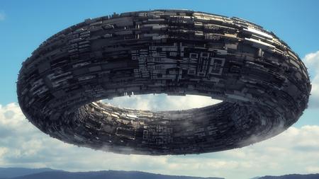 3D render Alien spaceship UFO concept