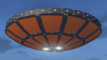 3D render Alien spaceship unidentified flying object