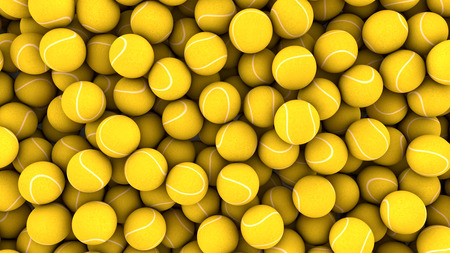 3d Render Yellow spheres