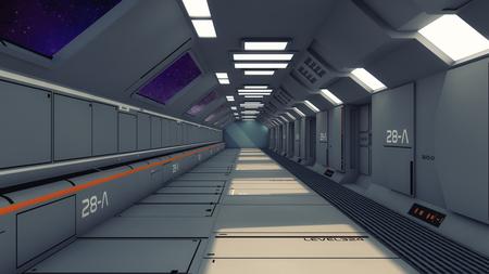 3D render Futuristic science fiction interior corridor