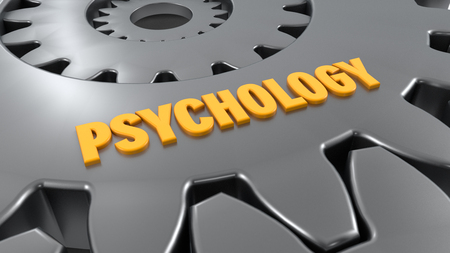 3d rendering. Gear and psychology word
