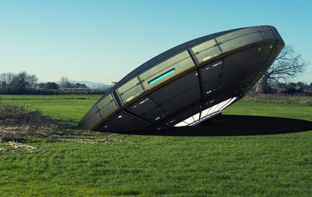 3D render. Alien spaceship unidentified flying object