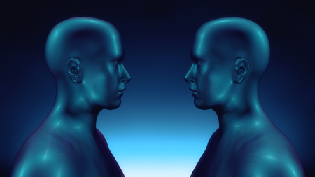 3D Render. Face to face humanoid figure Stock Photo