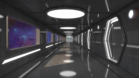 3D Render Futuristic spaceship interior corridor